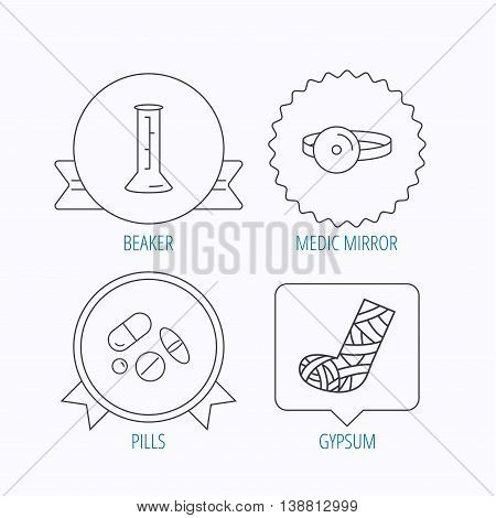 Gypsum, lab beaker and medical pills icons. Medical mirror linear sign. Award medal, star label and speech bubble designs. Vector