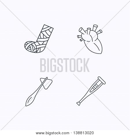 Gypsum, heart and medical hammer icons. Crutch linear sign. Flat linear icons on white background. Vector