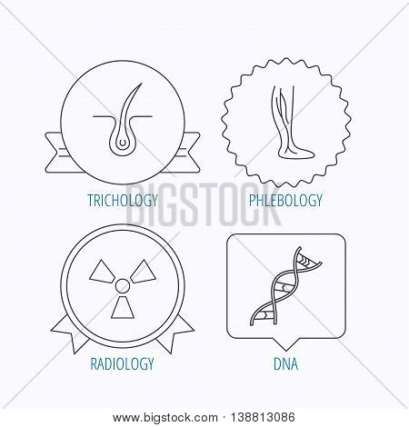 Phlebology, trichology and DNA icons. Radiology linear sign. Award medal, star label and speech bubble designs. Vector