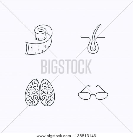 Glasses, neurology and trichology icons. Weight loss linear sign. Flat linear icons on white background. Vector