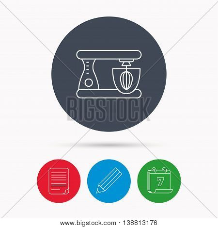 Mixer icon. Electric blender sign. Calendar, pencil or edit and document file signs. Vector