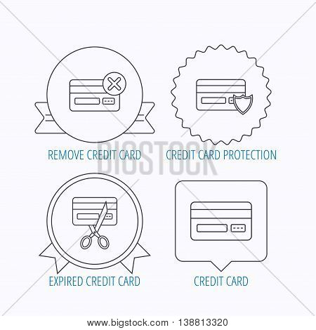 Bank credit card icons. Banking, protection and expired debit card linear signs. Award medal, star label and speech bubble designs. Vector