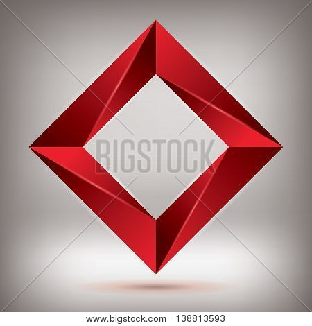 Impossible shape, red volume rhombus, abstract design vector object