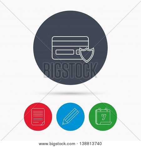 Protection credit card icon. Shopping sign. Calendar, pencil or edit and document file signs. Vector