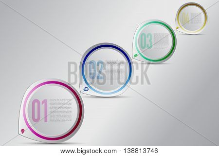 Four steps circular infographics with decreasing size. Modern 4 steps timeline infographic in rounded colored pointer shape with bulb gear chat box and coin icons. Modern business diagram.