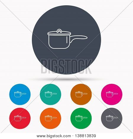 Saucepan icon. Cooking pot or pan sign. Icons in colour circle buttons. Vector