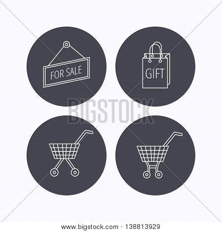 Shopping cart, gift bag and sale icons. For sale linear sign. Flat icons in circle buttons on white background. Vector