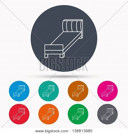 Single bed icon. Bedroom furniture sign. Icons in colour circle buttons. Vector