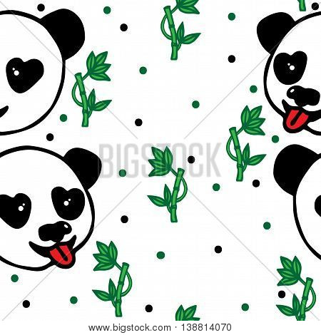 Seamless with head of Panda and green bamboo on the white background