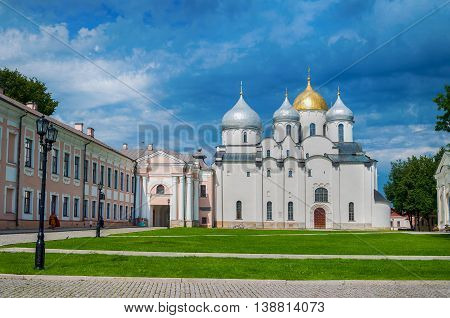 VELIKY NOVGOROD RUSSIA - JULY 15 2016. St Sophia Russian Orthodox cathedral at sunny summer day in Veliky Novgorod Russia. Architecture landscape