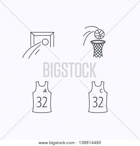 Football, basketball and team captain icons. Team assistant linear sign. Flat linear icons on white background. Vector