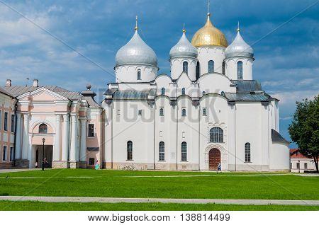 VELIKY NOVGOROD RUSSIA - JULY 15 2016. St Sophia Russian Orthodox cathedral at sunny summer day in Veliky Novgorod Russia. Architecture landscape of Orthodox landmark