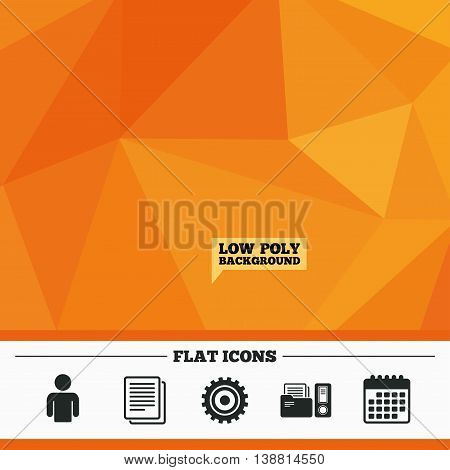 Triangular low poly orange background. Accounting workflow icons. Human silhouette, cogwheel gear and documents folders signs symbols. Calendar flat icon. Vector