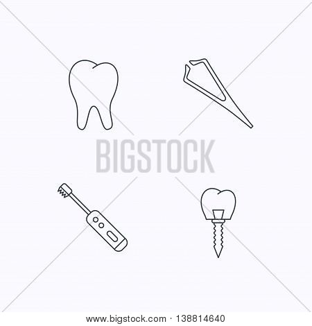 Dental implant, tooth and tweezers icons. Electric toothbrush linear sign. Flat linear icons on white background. Vector