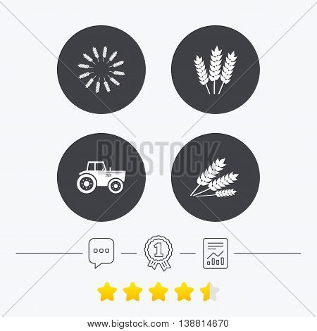 Agricultural icons. Wheat corn or Gluten free signs symbols. Tractor machinery. Chat, award medal and report linear icons. Star vote ranking. Vector