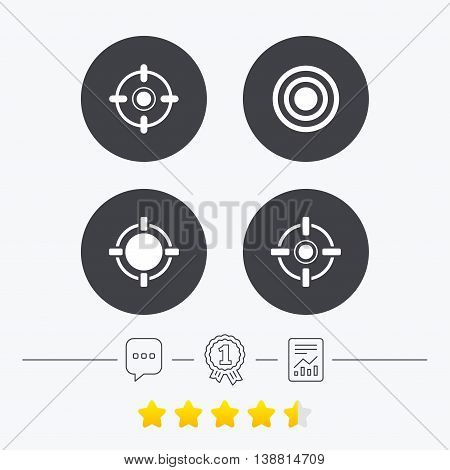 Crosshair icons. Target aim signs symbols. Weapon gun sights for shooting range. Chat, award medal and report linear icons. Star vote ranking. Vector