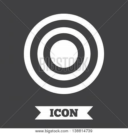 Target aim sign icon. Darts board symbol. Graphic design element. Flat target symbol on dark background. Vector