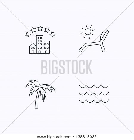 Palm tree, waves and deck chair icons. Hotel linear sign. Flat linear icons on white background. Vector