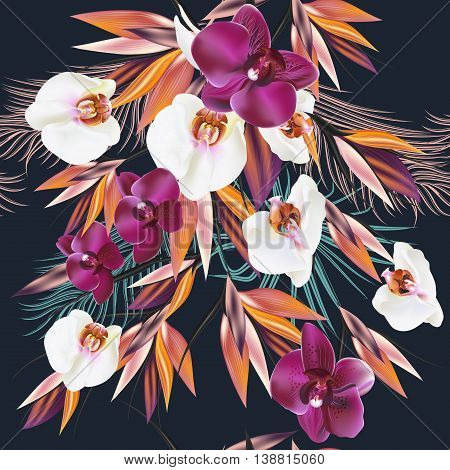 Beautiful seamless vector pattern with tropical plants orchids and palm leafs. Ideal for fabric prints patterns deep colors