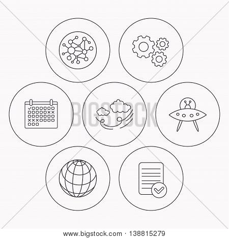 Ufo, planet and global network icons. Wind linear sign. Check file, calendar and cogwheel icons. Vector