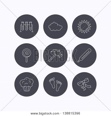 Footprint, lab bulbs and thermometer icons. Muffin, bow and lolly pop linear signs. Cloud and sun flat line icons. Flat icons in circle buttons on white background. Vector