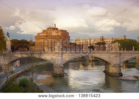 ROME, ITALY - APRIL 8, 2016: Castel Sant'Angelo (The Castle of the Holy Angel or Mausoleum of Hadrian) in Rome