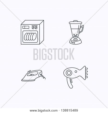 Dishwasher, hairdryer and mixer icons. Iron linear sign. Flat linear icons on white background. Vector