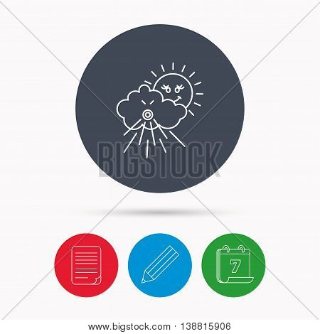 Wind icon. Cloud with sun and storm sign. Strong wind or tempest symbol. Calendar, pencil or edit and document file signs. Vector