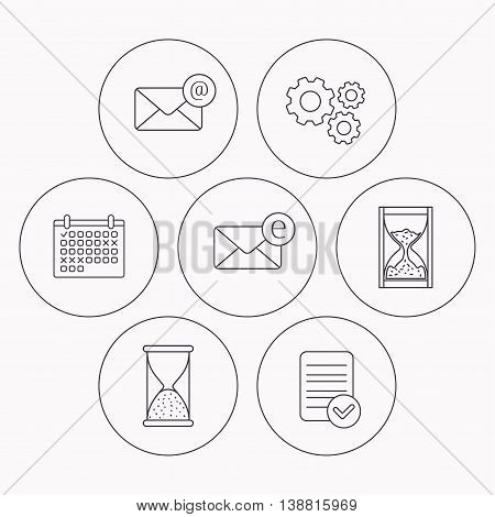 Mail, e-mail and hourglass icons. E-mail inbox linear sign. Check file, calendar and cogwheel icons. Vector