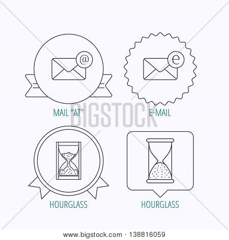 Mail, e-mail and hourglass icons. E-mail inbox linear sign. Award medal, star label and speech bubble designs. Vector