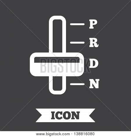 Automatic transmission sign icon. Auto car control symbol. Graphic design element. Flat transmission symbol on dark background. Vector