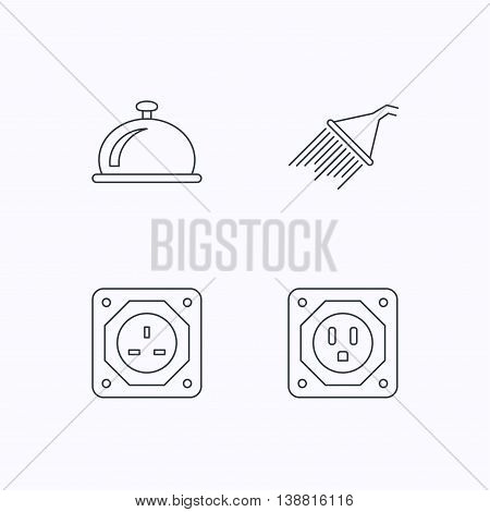 Shower, UK socket and USA socket icons. Reception bell linear sign. Flat linear icons on white background. Vector