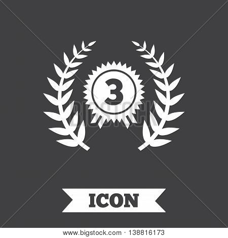 Third place award sign icon. Prize for winner symbol. Laurel Wreath. Graphic design element. Flat winner symbol on dark background. Vector