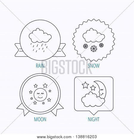 Weather, night and rain icons. Moon night and snow linear signs. Award medal, star label and speech bubble designs. Vector