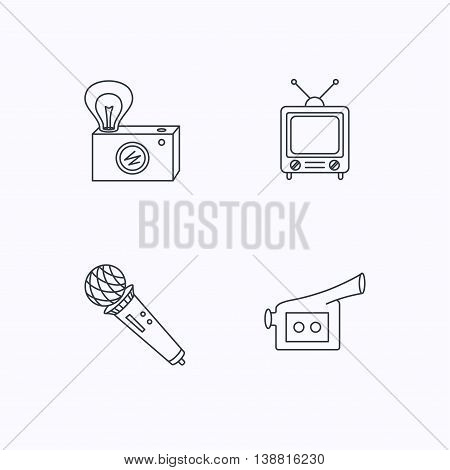 Photo, video camera and microphone icons. Vintage TV linear sign. Flat linear icons on white background. Vector