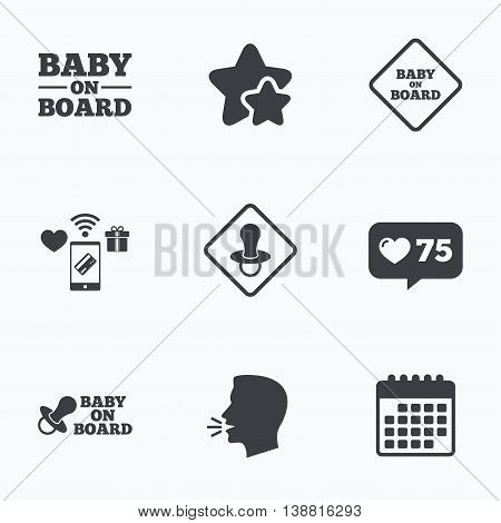 Baby on board icons. Infant caution signs. Nipple pacifier symbol. Flat talking head, calendar icons. Stars, like counter icons. Vector