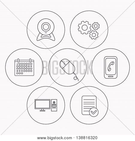 Computer, web camera and mobile phone icons. PC case linear sign. Check file, calendar and cogwheel icons. Vector