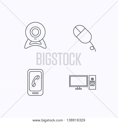 Computer, web camera and mobile phone icons. PC case linear sign. Flat linear icons on white background. Vector