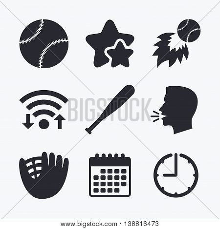 Baseball sport icons. Ball with glove and bat signs. Fireball symbol. Wifi internet, favorite stars, calendar and clock. Talking head. Vector