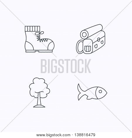 Maple tree, fish and hiking boots. Backpack linear sign. Flat linear icons on white background. Vector