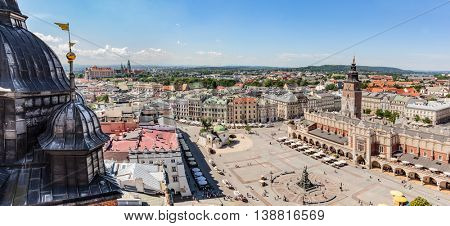 Cracow, Poland panorama. View on the the old town market square and Cloth Hall from the top of the St. Mary's Basilica Tower.