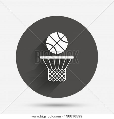 Basketball basket and ball sign icon. Sport symbol. Circle flat button with shadow. Vector