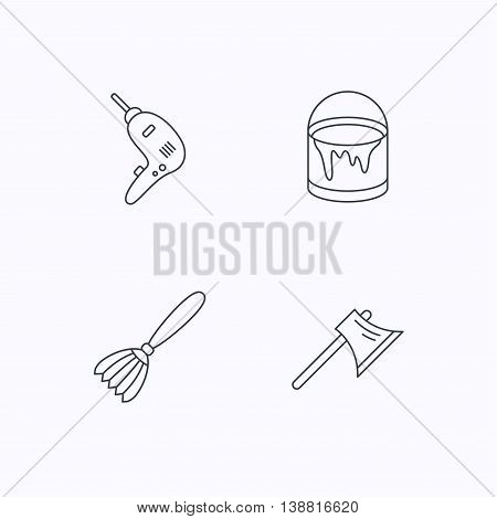 Drill tool, bucket of paint and axe icons. Brush linear sign. Flat linear icons on white background. Vector