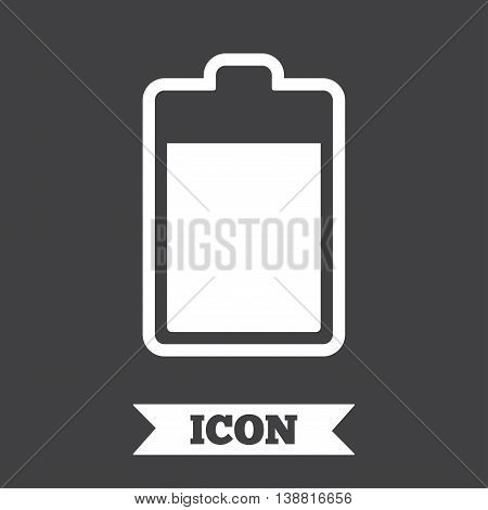 Battery level sign icon. Electricity symbol. Graphic design element. Flat battery symbol on dark background. Vector