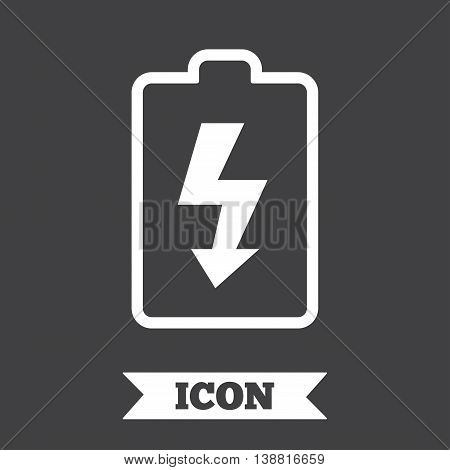 Battery charging sign icon. Lightning symbol. Graphic design element. Flat battery symbol on dark background. Vector