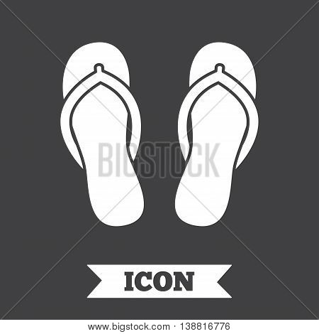 Flip-flops sign icon. Beach shoes. Sand sandals. Graphic design element. Flat sandals symbol on dark background. Vector