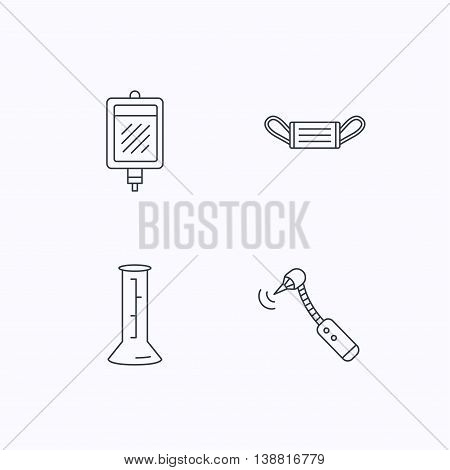 Medical mask, blood and drilling tool icons. Beaker linear sign. Flat linear icons on white background. Vector