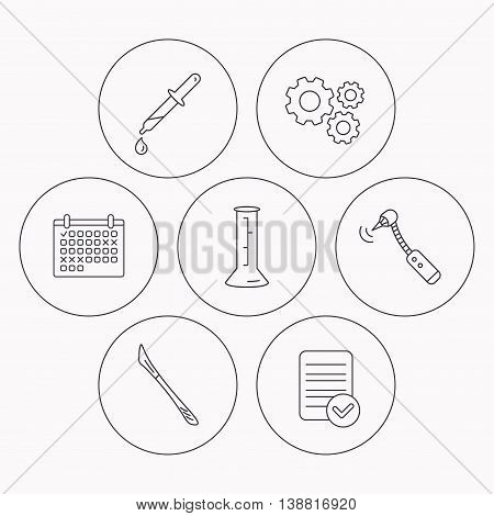 Beaker, medical scalpel and drilling tool icons. Pipette linear sign. Check file, calendar and cogwheel icons. Vector