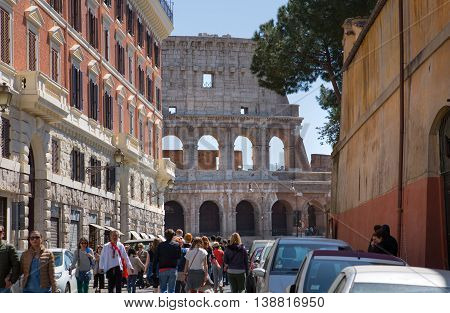 ROME, ITALY - APRIL 8, 2016: Ruins of Coliseum