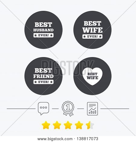 Best wife, husband and friend icons. Heart love signs. Award symbol. Chat, award medal and report linear icons. Star vote ranking. Vector